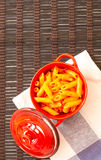 Penne with tomato stock photos