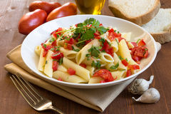 Penne tomato and parsley Royalty Free Stock Image
