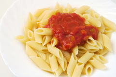 Penne with tomato sauce Royalty Free Stock Photos