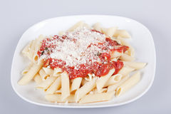 Penne with tomato sauce Royalty Free Stock Photography