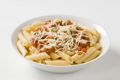 Penne with tomato sauce and cheese Stock Photography