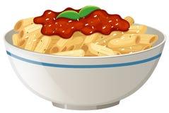 Penne Tomato Sauce no fundo branco ilustração royalty free