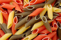 Penne tricolore pasta Stock Photography