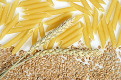 Penne, wheat ears and corn Stock Photos