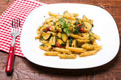 Penne with zucchini Stock Photography