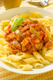 Penne with zucchini and tomato sauce Royalty Free Stock Photos