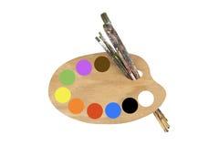 Pennelli, colori e tavolozza dell'artista Immagini Stock