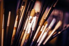 Pennelli della pittura a olio Immagini Stock
