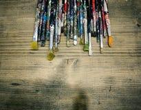 Pennelli utilizzati Fotografia Stock Libera da Diritti