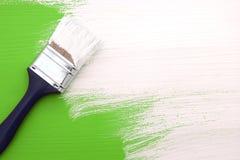 Pennello con pittura bianca che dipinge sopra il verde Fotografia Stock Libera da Diritti