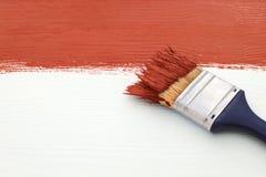 Pennello con pittura rossa, dipingente sopra il bordo bianco Fotografia Stock