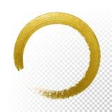 Pennello di struttura di scintillio del cerchio dell'oro sul fondo trasparente di vettore illustrazione di stock