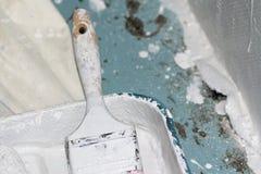 Pennello e vassoio della pittura coperto in pittura bianca Fotografie Stock