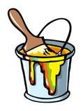 Pennello in una latta della vernice Fotografia Stock Libera da Diritti