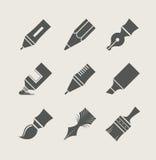 Pennen en borstels voor tekening. Reeks eenvoudige pictogrammen Royalty-vrije Stock Foto's