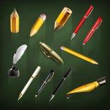 Pennen en potlodenpictogrammen Stock Afbeeldingen