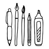Pennen, potlood, tellers en borstel vectorreeks Royalty-vrije Stock Foto