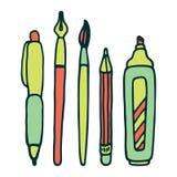 Pennen, potlood, tellers en borstel vectorreeks Royalty-vrije Stock Afbeeldingen