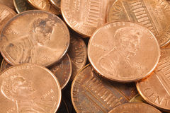 Pennies. A closeup of a bunch of pennies Royalty Free Stock Photography
