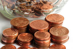 Pennies. Piles of pennies and twopenny pieces stock photos