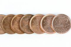 Pennies. Canadian pennies lined up till 2012 the last year it was produced Royalty Free Stock Photography