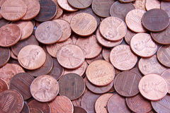 Pennies. Background picture of many pennies Stock Photos