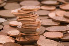 Pennies. A pile of pennies among loose change Stock Photography