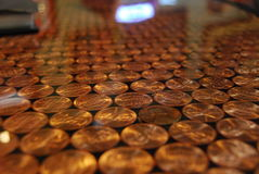 Pennies as counter top royalty free stock photo