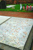 Pennies on Ben Franklin`s grave - a Philly tradition stock photo