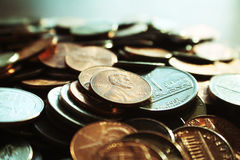 Pennies Close Up High Quality. Stock photo Royalty Free Stock Photos