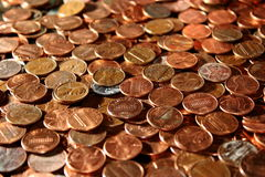 Pennies from heaven. Closeup of old and new pennies Stock Photos