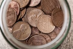 Pennies in a Jar Royalty Free Stock Photo