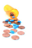 Pennies and pills Royalty Free Stock Image
