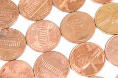Pennies in a row. Various pennies in a row Stock Photos