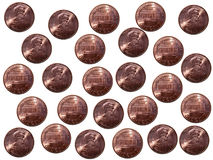 Pennies on white background. Regular pattern of pennies on white background Stock Images