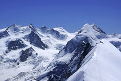 Pennine Alps. View from Breithorn (4164 m) towards Monte Rosa massif. Pennine Alps, Switzerland Stock Images