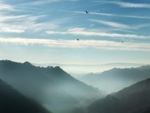 Pennine hills in the calder valley yorkshire with mist and crows Royalty Free Stock Photography