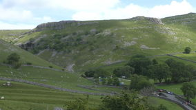 Pennine landscape from top of the hill stock footage