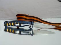 Pennkniv med ett blad från damast stål Royaltyfri Fotografi