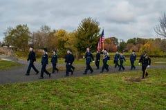 Pennsauken, New Jersey - November 5, 2017: Dit is burgerlijke luchtpatrouille bij deze Dagceremonies van jarenveteranen die bij C stock fotografie