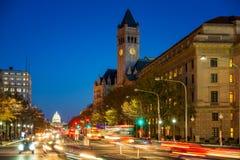 Pennsylvania-Allee nachts, Washington DC, USA Stockbilder