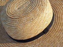 Pennsylvania Amish Straw Hat Detail. Close-up of Amish farming hat from Pennsylvania Dutch (Pennsylvania German) area, made by stitching braided straw together Stock Photography