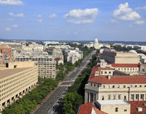 Pennsylvania Avenue, aerial view with federal buildings including US Archives building, Department of Justice and US Capitol Royalty Free Stock Photos