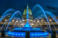 Pennsylvania capital building and fountain Royalty Free Stock Image