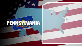 Pennsylvania Countered Flag and Information Panel stock footage