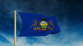 Pennsylvania flag slider style. Waving in the win stock footage