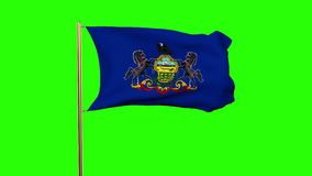 Pennsylvania flag waving in the wind. Green screen stock video footage
