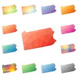 Pennsylvania geometric polygonal, mosaic style us. Pennsylvania geometric polygonal, mosaic style us state maps collection. Bright abstract tessellation, low Stock Images