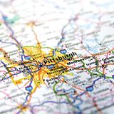 Pennsylvania-Landstraßen-Karten-Abschluss oben Lizenzfreies Stockfoto