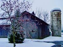 Pennsylvania lantgård i vinter Arkivbild